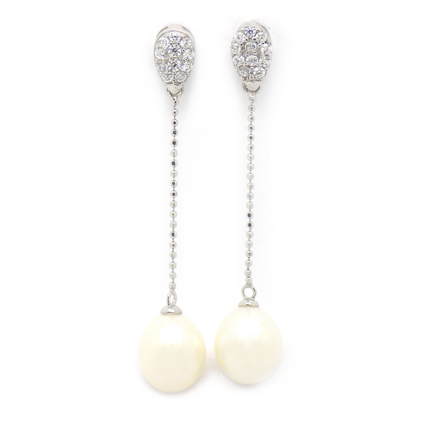 Sterling Silver Fresh Water Pearl & CZ Bead Chain Drop Earrings