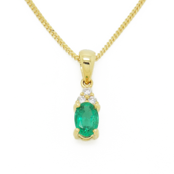 18ct Yellow Gold Emerald and Diamond Pendant