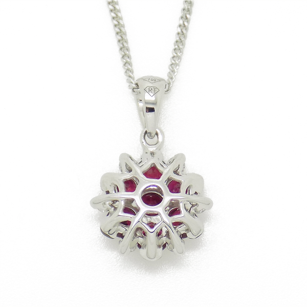 18ct White Gold Ruby and Diamond Flower Cluster Pendant back view