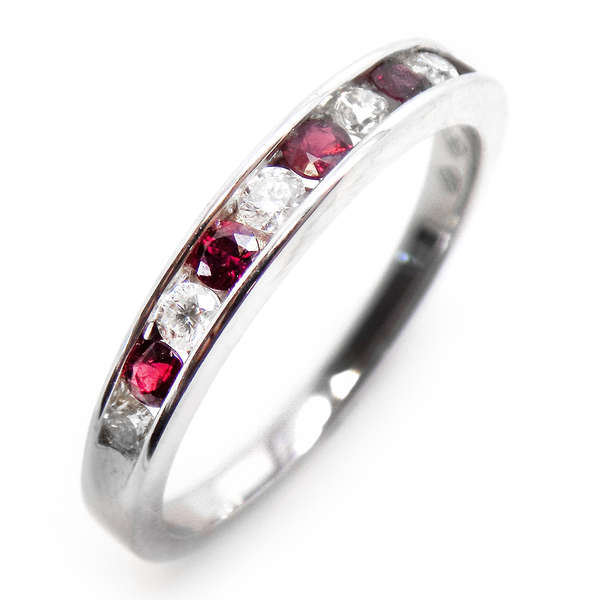 18ct White Gold Round Ruby & Diamond Eternity Ring