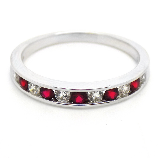 18ct White Gold Round Ruby & Diamond Eternity Ring Front