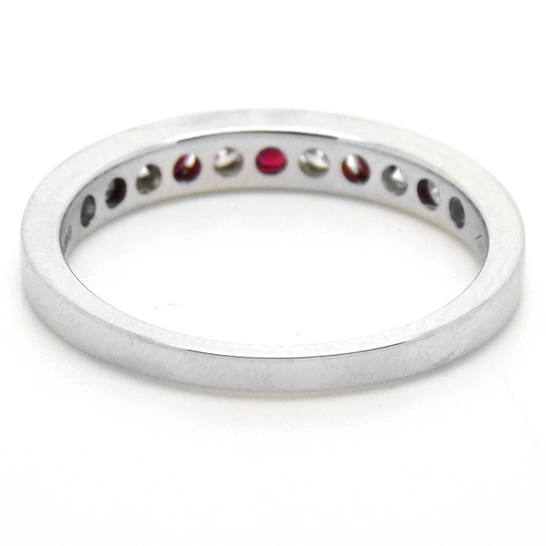 18ct White Gold Round Ruby & Diamond Eternity Ring Back