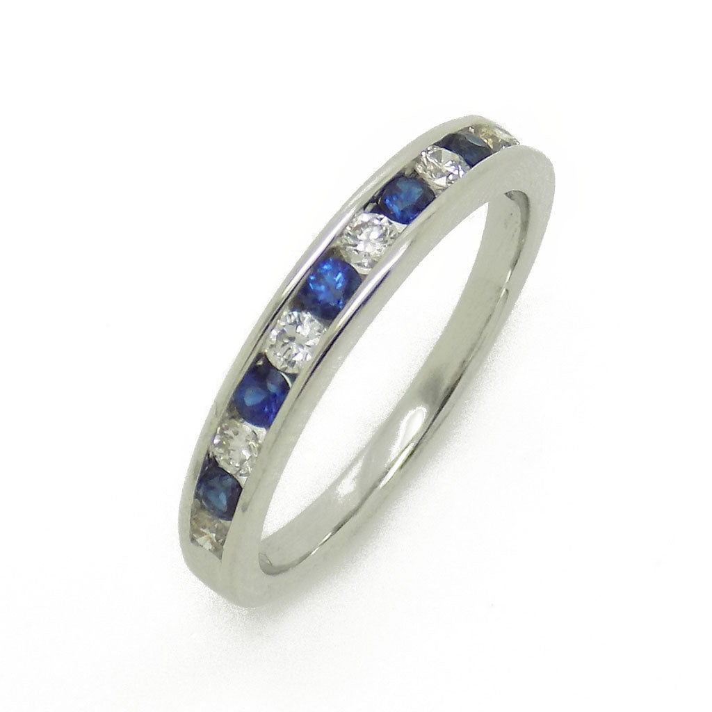 18ct White Gold Round Sapphire & Diamond Eternity Ring