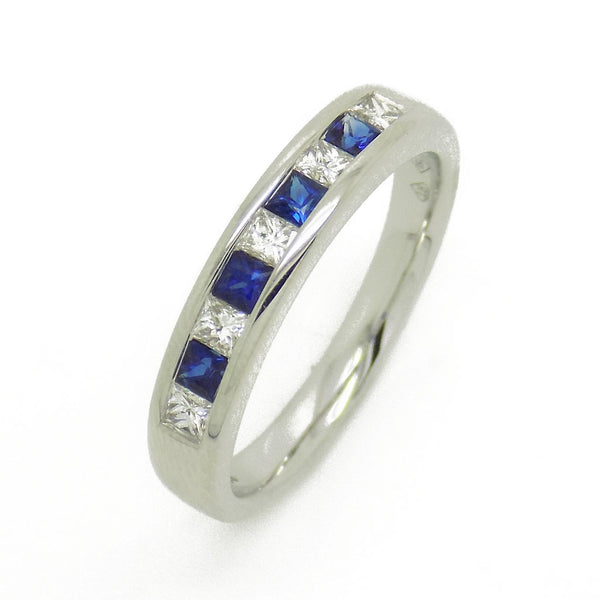18ct White Gold Square Sapphire & Princess Cut Diamond Eternity Ring