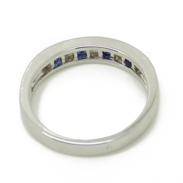 18ct White Gold Square Sapphire & Princess Cut Diamond Eternity Ring Mount Detail