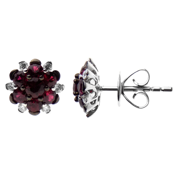 18ct White Gold Ruby and Diamond Flower Cluster Earrings