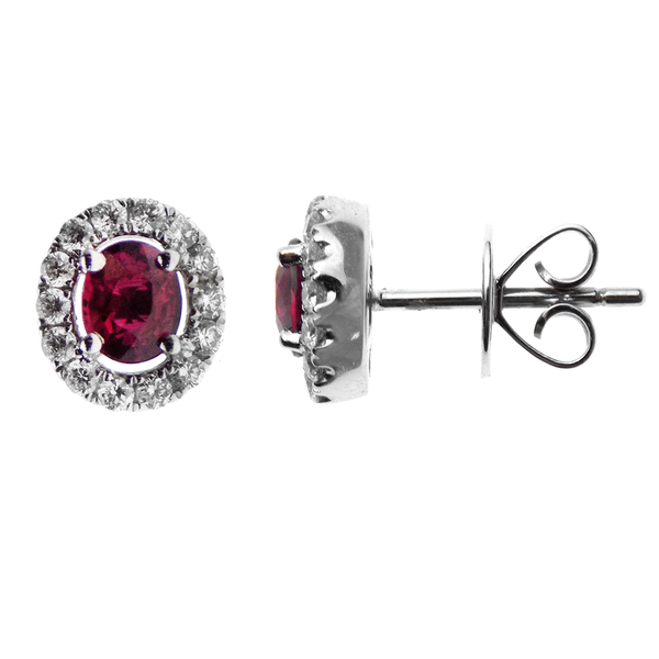 18ct White Gold Oval Ruby & Diamond Cluster Stud Earrings