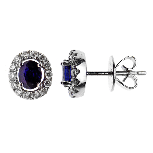 18ct White Gold Sapphire & Diamond Cluster Earrings