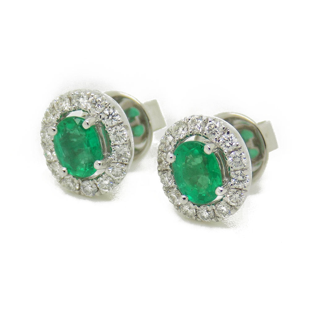 18ct White Gold Emerald & Diamond Cluster Stud Earrings
