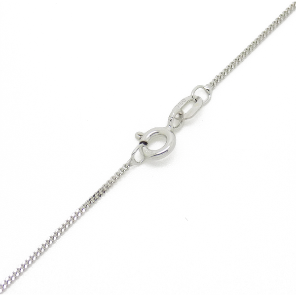 "18ct White Gold 16"" Fine Curb Chain - Clasp Detail"