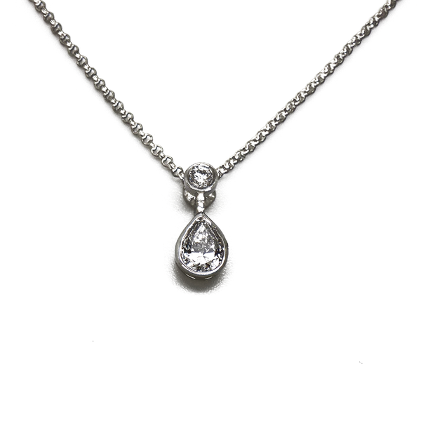 18ct White Gold Two Diamond Drop Pendant & Chain