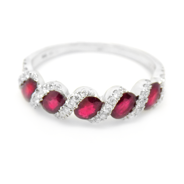 18ct White Gold Ruby & Diamond Eternity Ring Front Detail