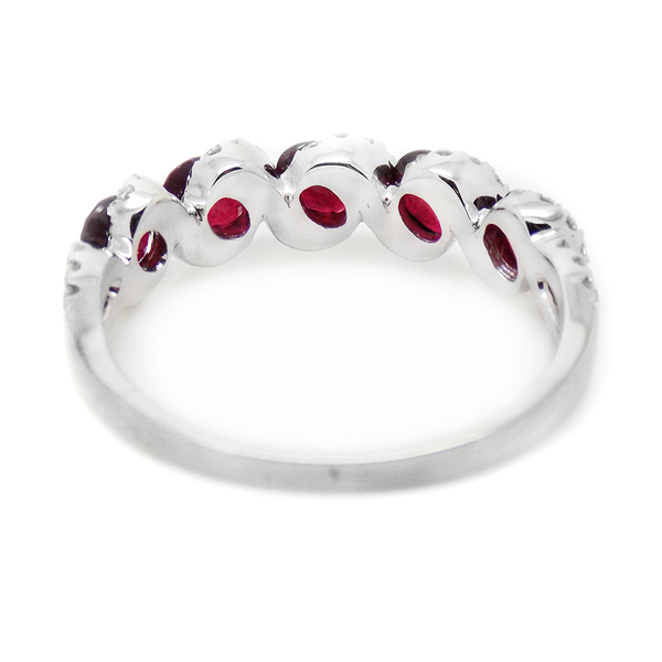 18ct White Gold Ruby & Diamond Eternity Ring Back Detail
