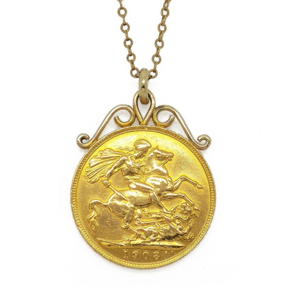 Pre loved full sovereign 1908 coin pendant with 9ct yellow gold 18 pre loved full sovereign 1908 coin pendant with 9ct yellow gold 18 fine trace aloadofball Images