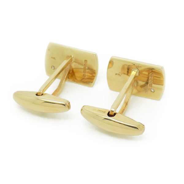 Pre-Loved Gents 9ct Yellow Gold Rectangular Diamond Set Cufflinks - Fastening Detail
