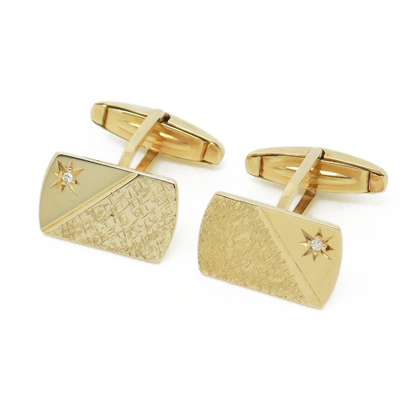 Pre-Loved Gents 9ct Yellow Gold Rectangular Diamond Set Cufflinks