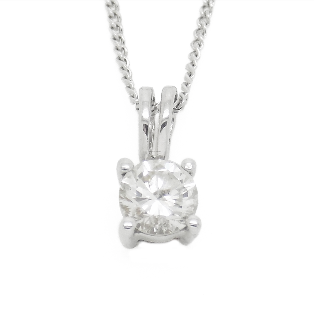 Pre loved 18ct white gold single diamond pendant chain pre loved 18ct white gold single diamond pendant chain aloadofball Image collections