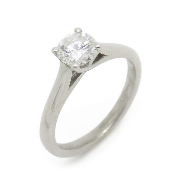 Platinum Single Certified 0.79ct Round Diamond 'Tiffany' Style Ring