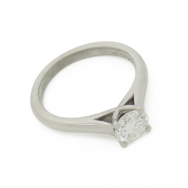 Platinum Single Certified 0.79ct Round Diamond 'Tiffany' Style Ring - Stone Detail