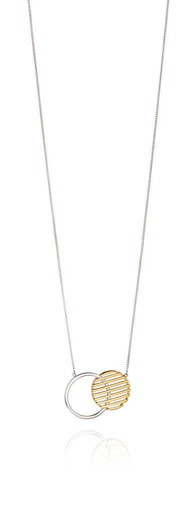 'Fiorelli' Silver & Yellow Gold Plated Circle Disc Necklace