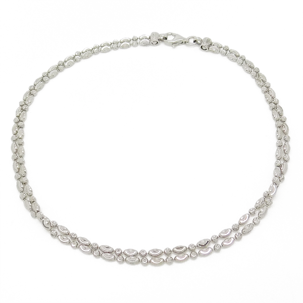 Sterling Silver Double Row Patterned Anklet
