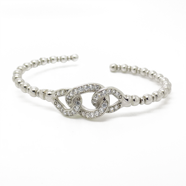Sterling Silver Cubic Zirconia Open Twist Torque Bangle Detail