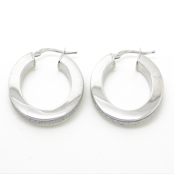 Sterling Silver Oval Moondust Hoop Earrings Side Detail