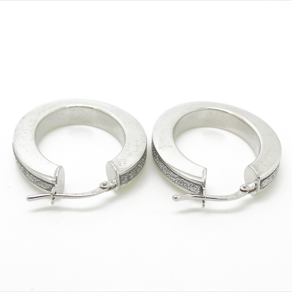 Sterling Silver Oval Moondust Hoop Earrings Reverse