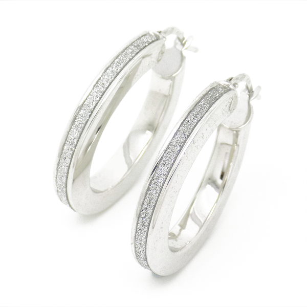 Sterling Silver Oval Moondust Hoop Earrings