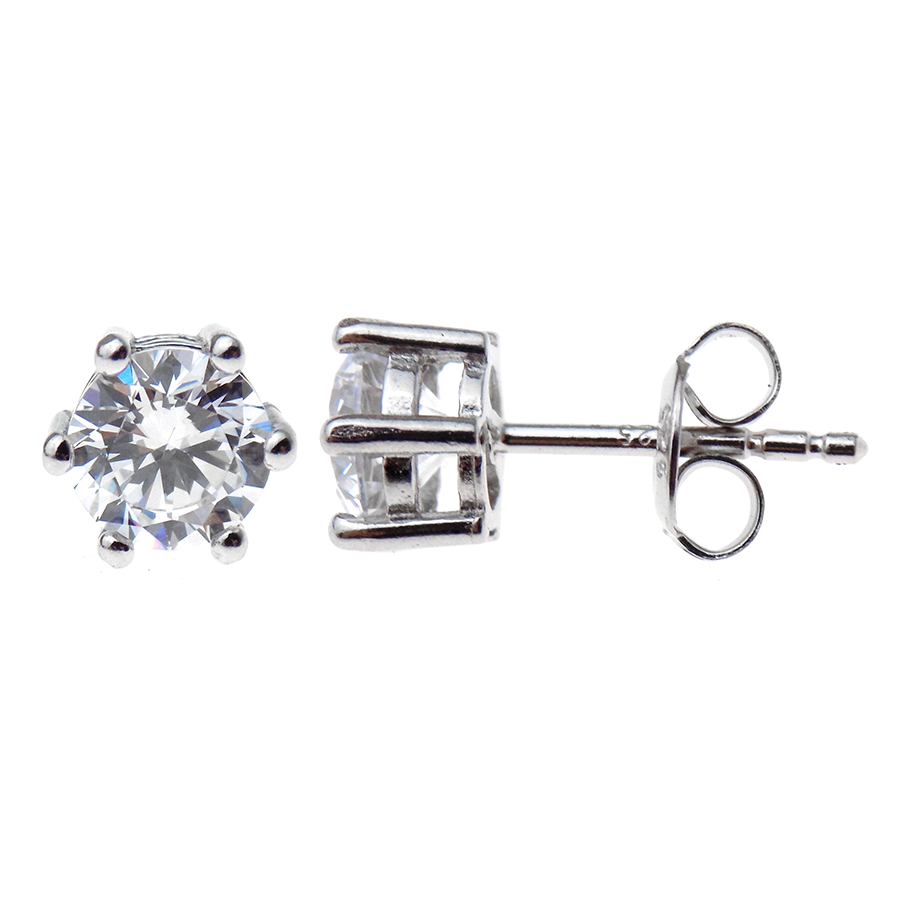 Sterling Silver 6mm Round CZ Claw Set Stud Earrings