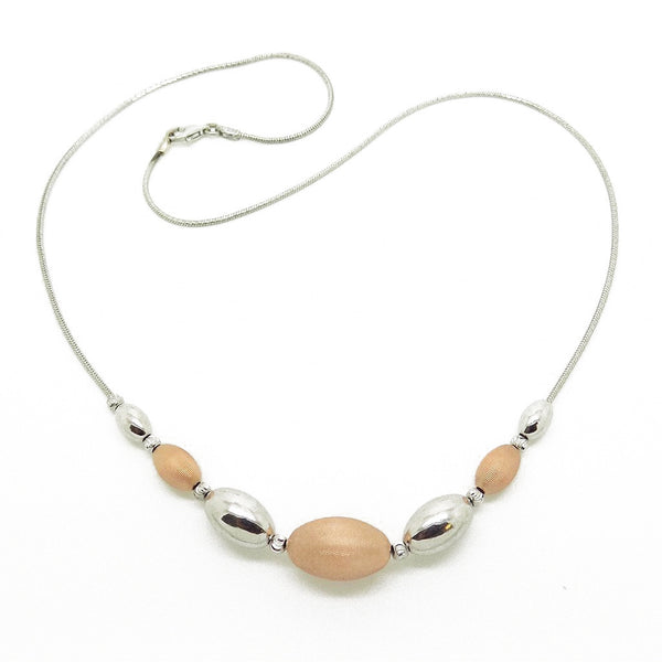 Sterling Silver, Rose Gold Plated Graduated Bead Necklet Full Image
