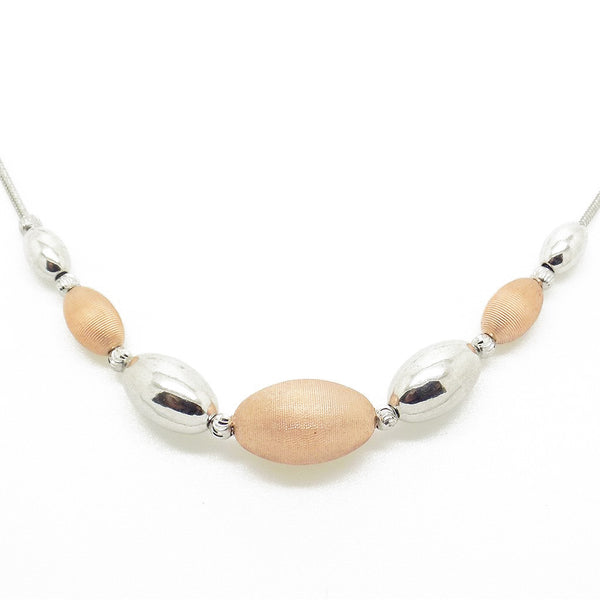 Sterling Silver, Rose Gold Plated Graduated Bead Necklet