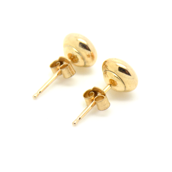 9ct Yellow Gold 6mm Button Shape Stud Earrings Fastening