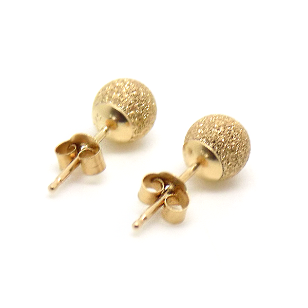 9ct Yellow Gold 5mm Frosted Ball Stud Earrings Fastening Detail