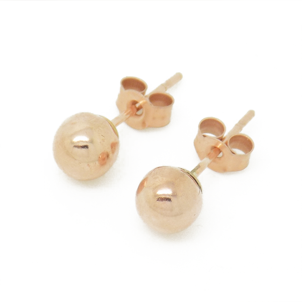 9ct Rose Gold 4mm Ball Stud Earrings - Front Detail