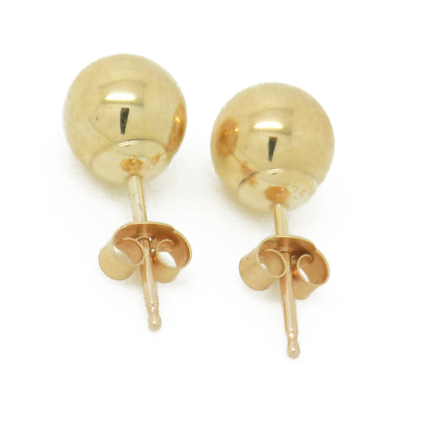 9ct Yellow Gold 5mm Ball Stud Earrings Reverse