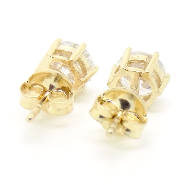 9ct Yellow Gold 6mm CZ Stud Earrings Back