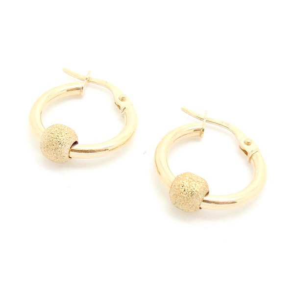 9ct Yellow Gold Frosted Bead Hoop Earrings