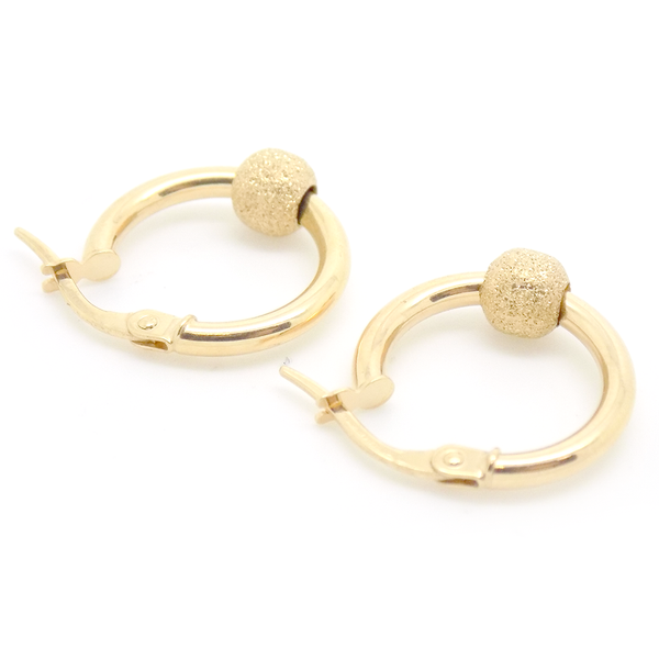9ct Yellow Gold Frosted Bead Hoop Earrings Back