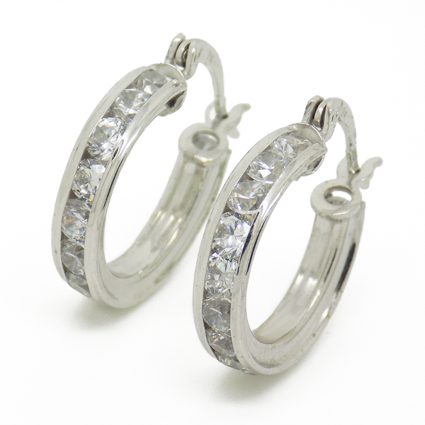 9ct White Gold 16mm CZ Channel Set Hoop Earrings