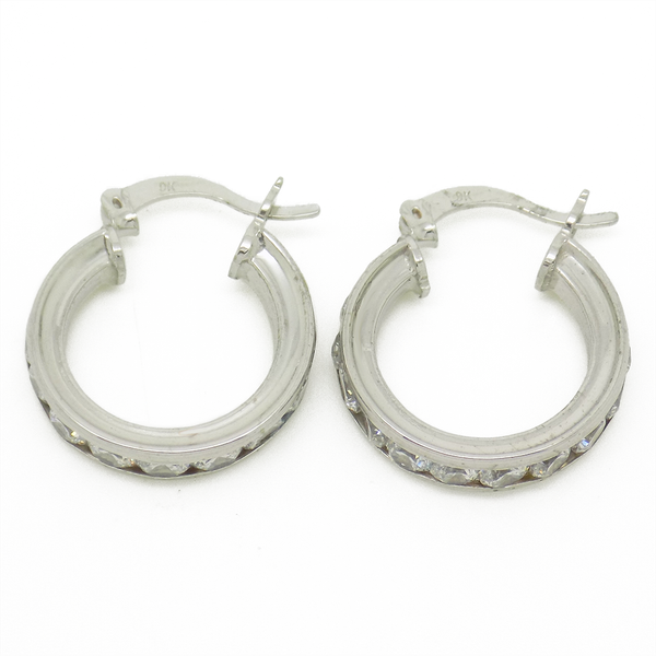 9ct White Gold 16mm CZ Channel Set Hoop Earrings - Clasps