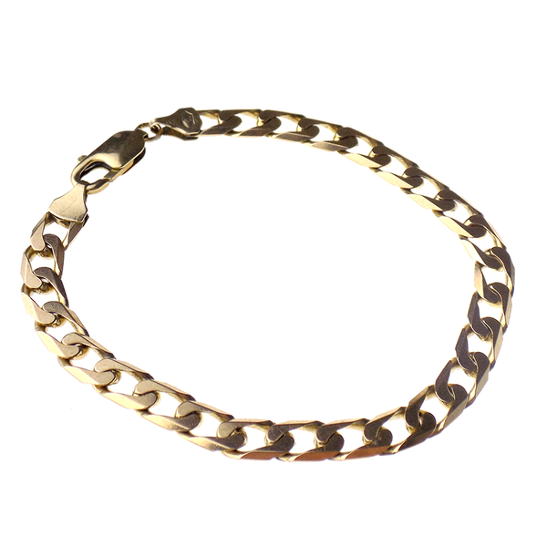 Pre-Loved 9ct Yellow Gold Solid Curb Link Bracelet