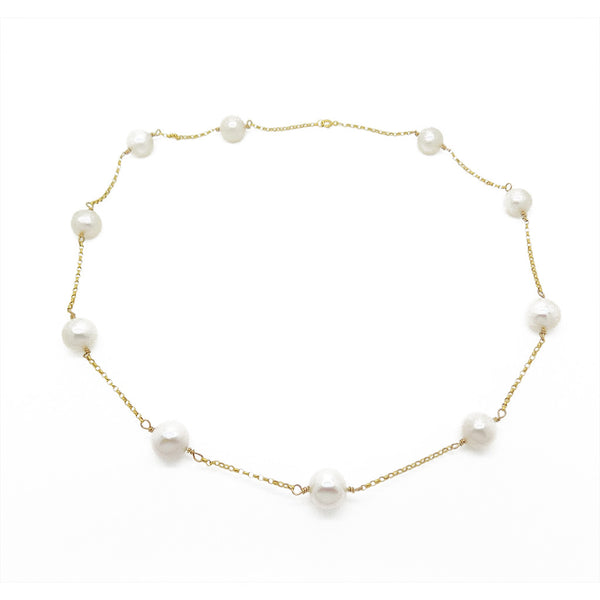 9ct Yellow Gold Freshwater Pearl Necklace Chain