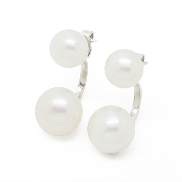Sterling Silver Double Freshwater Pearl Stud Earring