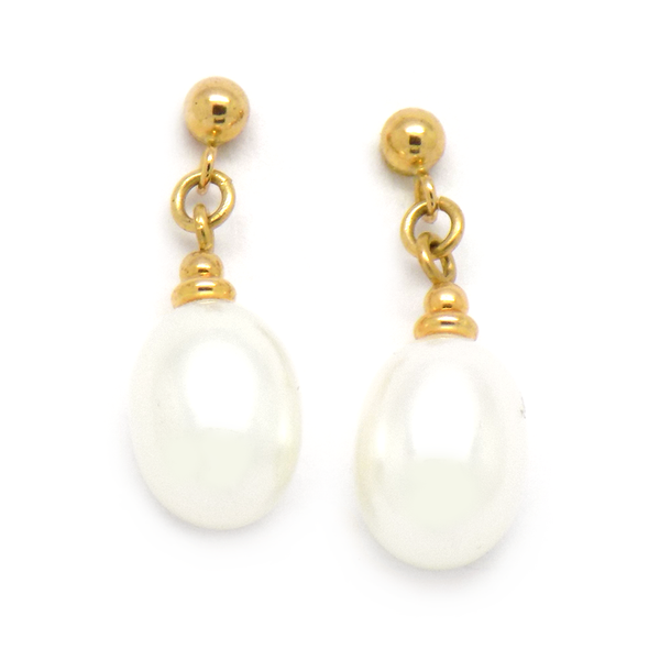 9ct Yellow Gold White Teardrop Freshwater Pearl Drop Earrings