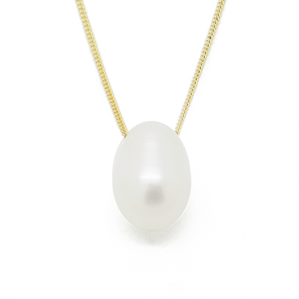 9ct Yellow Gold Teardrop Freshwater Pearl Pendant & Chain