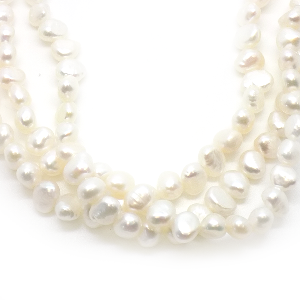 Three Row Twist Irregular White Freshwater Pearl Necklace