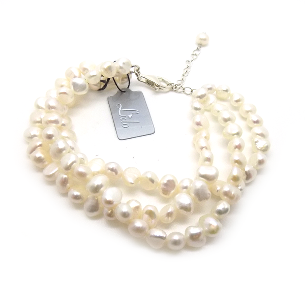 'Lido' Three Row Twist Irregular White Freshwater Pearl Bracelet