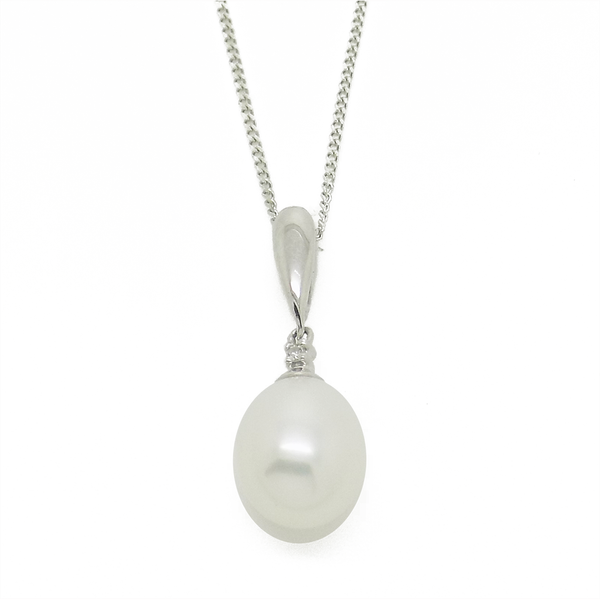 9ct White Gold Teardrop Freshwater Pearl & Diamond Pendant