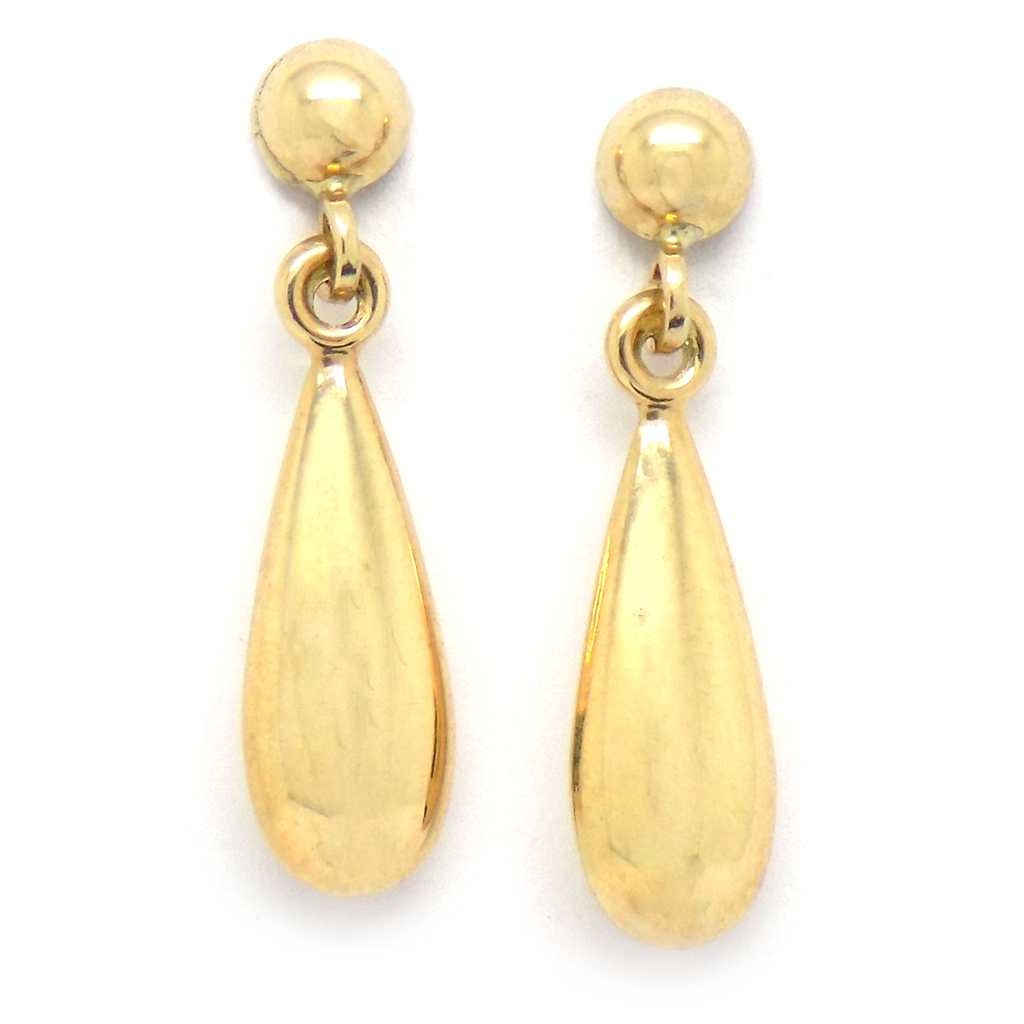 9ct Yellow Gold Plain Teardrop Shape Drop Earrings